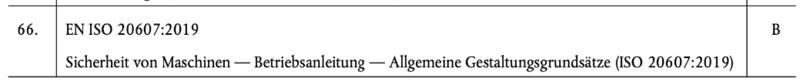Auszug Normenliste für die Maschinenrichtlinie