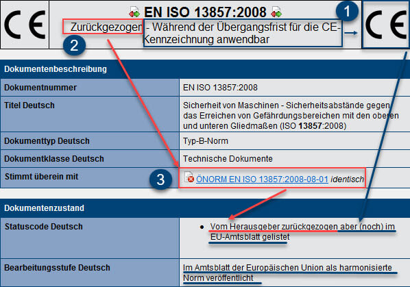 Bibliografische Daten zur EN ISO 13857:2008 in Safexpert