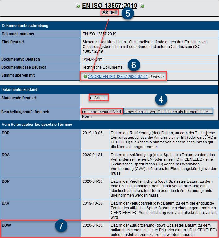 Bibliografische Daten zur EN ISO 13857:2019 in Safexpert