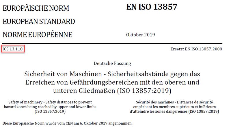 Europäisches Deckblatt der EN ISO 13857:2019 mit ICS-Zugehörigkeit