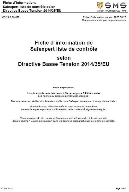 Liste Directive Basse Tension 2014/35/EU grand