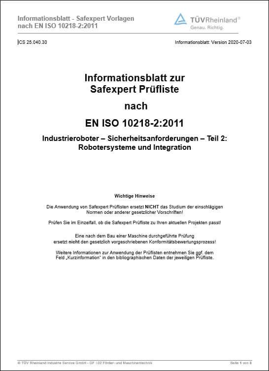 Handbuch zur Anwendung der Prüfliste nach EN ISO 10218-2:2011 Industrierobotersysteme und Integration