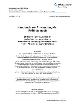 Handbuch zur Prüfung und Abnahme von elektrischen Maschinen nach EN 60204-1 mit dem Safexpert Prüf- und Abnahme Assistent