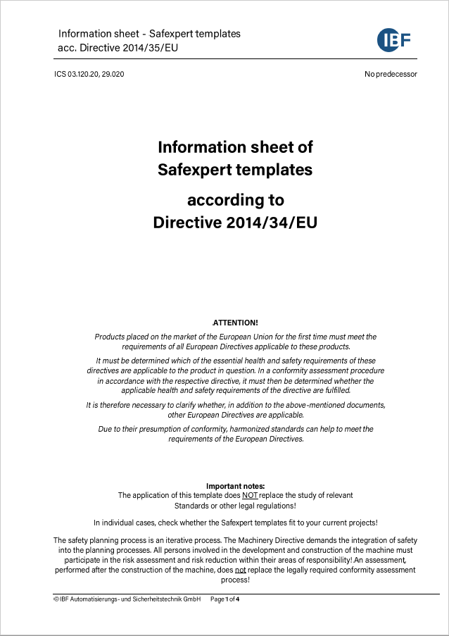 Picture of the cover of Safexpert Information Sheet Checklist Low Voltage Directive 2014/35 EU