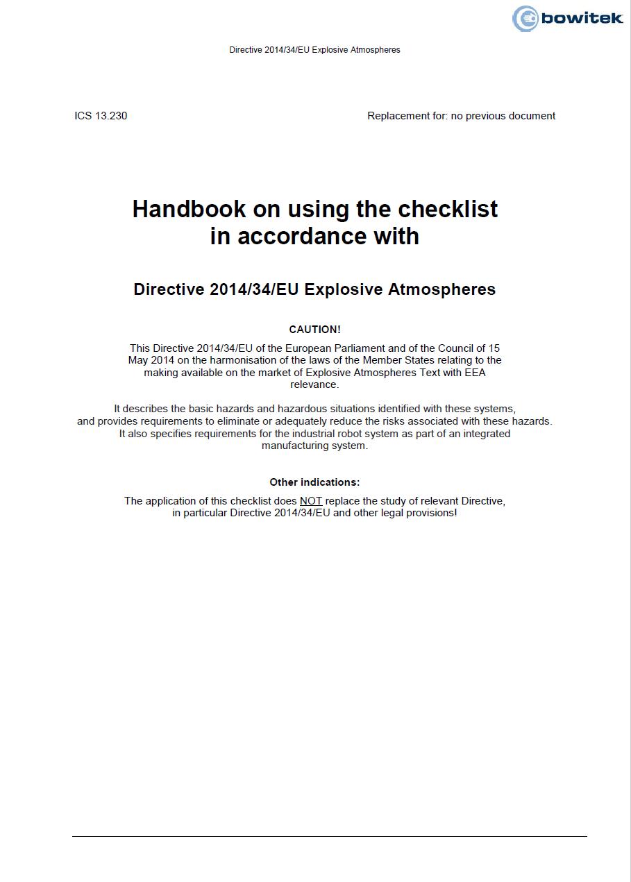 Checklist according to Directive 2014/34/EU