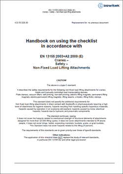 Handbook for the application of the checklist according to EN 13155 Cranes - Loose load handling attachments
