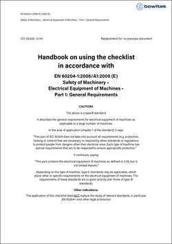 Handbook for the application of the checklist according to EN 60204-1:2006+A1:2009 Electrical equipment of machinery