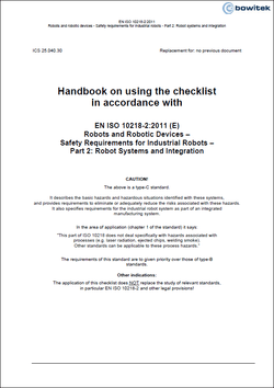 Handbook for the application of the checklist according to EN ISO 10218-2:2011 Industrial robot systems and integration
