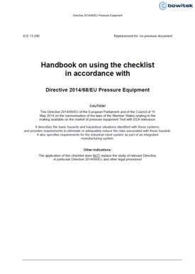 Checklist according to Directive 2014/68/EU Pressure Equipment