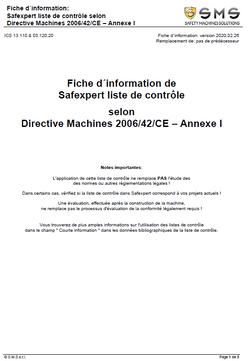 Capture d'écran de la fiche d'information t : Liste de contrôle Safexpert selon la directive Machines 2006/42/CE Annexe 1