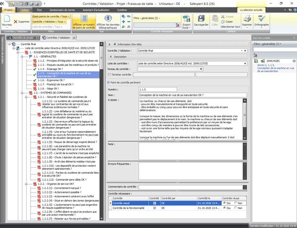 Capture d'écran de la liste de contrôle selon la Directive Machines 2006/42/CE - Annexe I