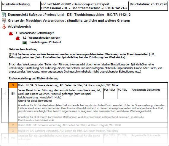 Ausdruck der Risikobeurteilung in der Software zur Risikobeurteilung