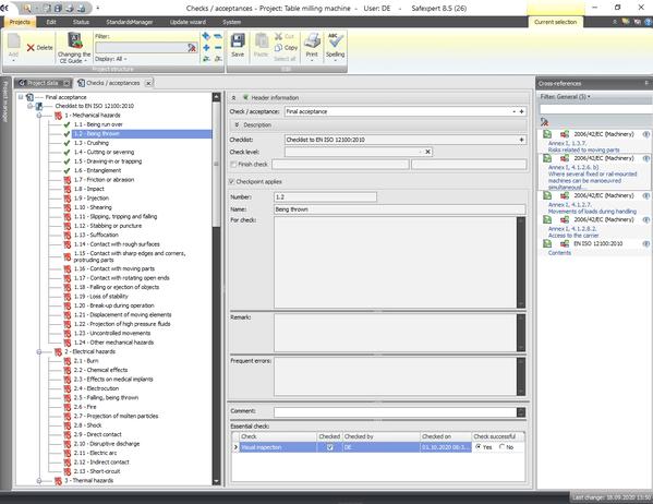 Screenshot of the checklist according to EN ISO 12100:2010 Annex B