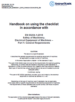 Handbook for the application of the checklist according to EN 60204-1:2018 Safety of machinery –  Electrical equipment of machines Part 1: General requirements