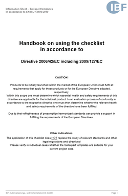 Coverpicture of the Safexpert handbook EN ISO 12100:2010