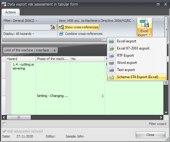 Safexpert offers an export function to the Schema ST4 editing system
