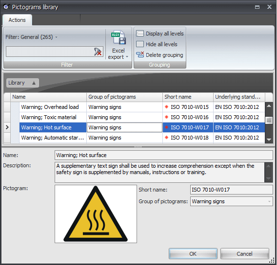 Select pictograms directly during the risk assessment