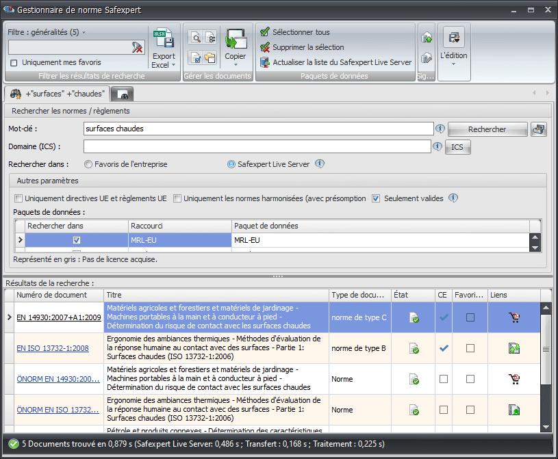 Recherche nach Normen mit der Software Safexpert NormManager