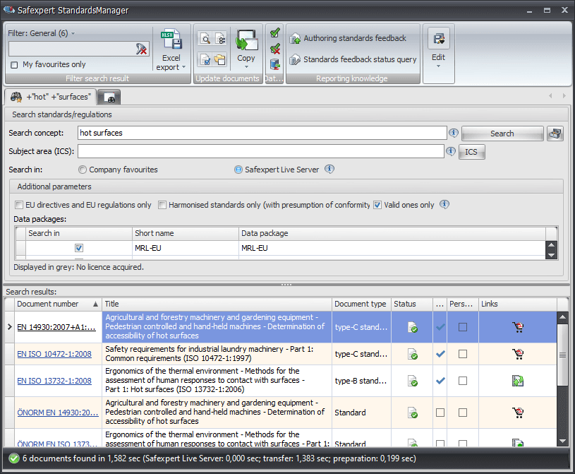 Search for standards with the Safexpert NormManager software